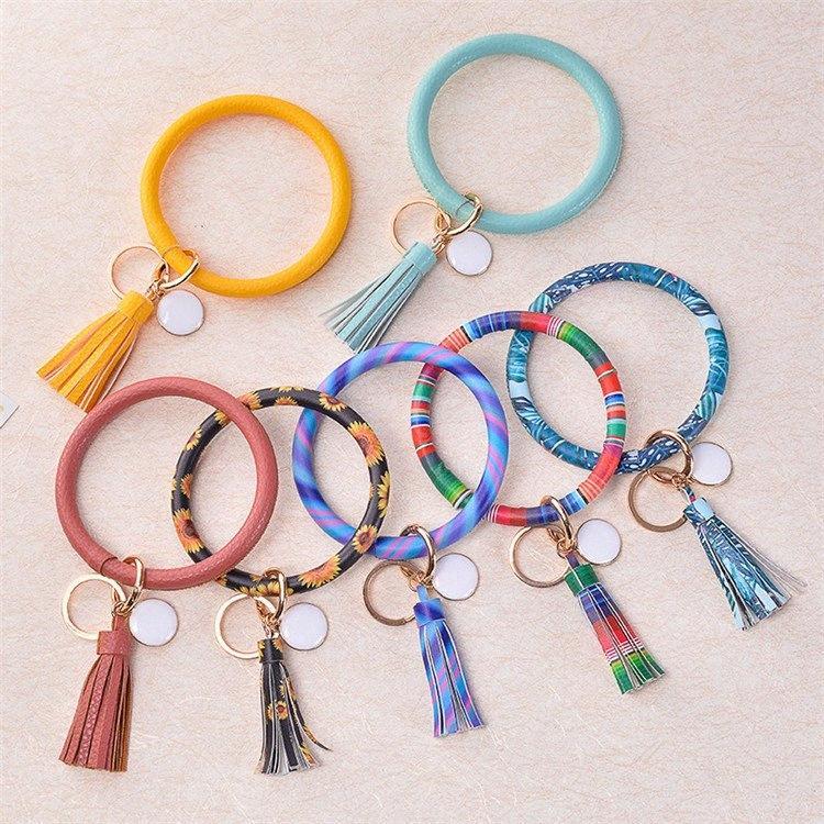 23 renk PU Deri Anahtar toka bilezik püskül kolye PU Deri Anahtar-Ring elin yüzük baskılı Wristlet anahtarlık T9I00415 tbz2 #