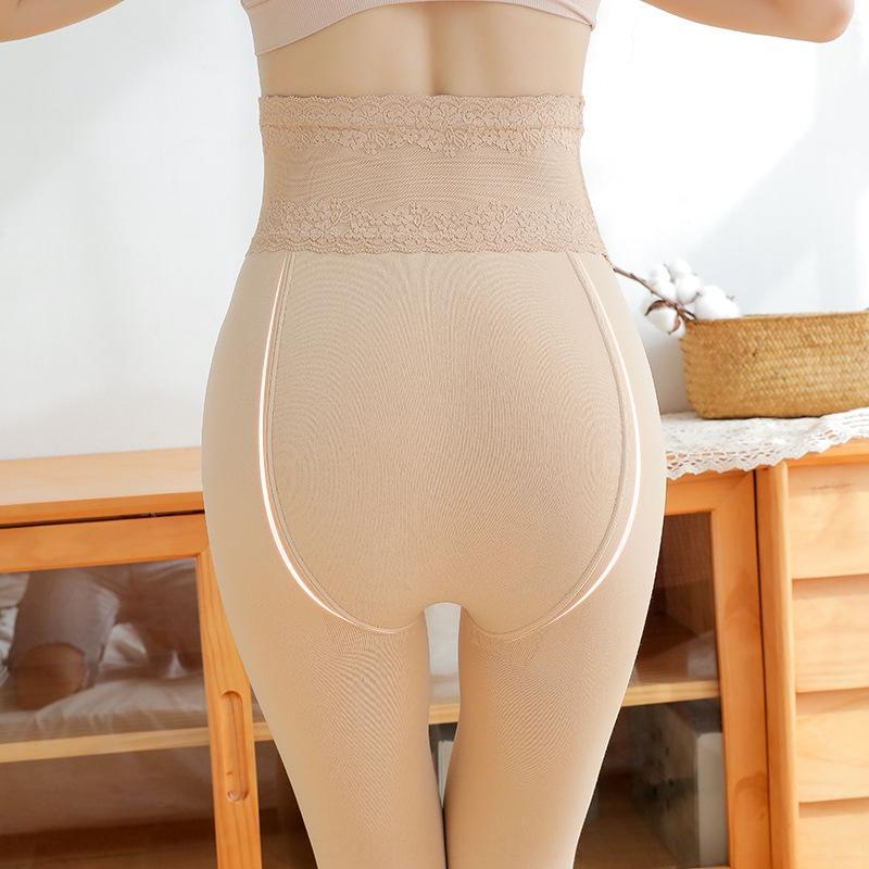 vnoUA Tight талии B448 штаны кружева Комбинезон кружевные леггинсы анти-крюк шелка сексуальный светлый цвет кожи ног артефакт бархат высокой талии все-в-один брюки