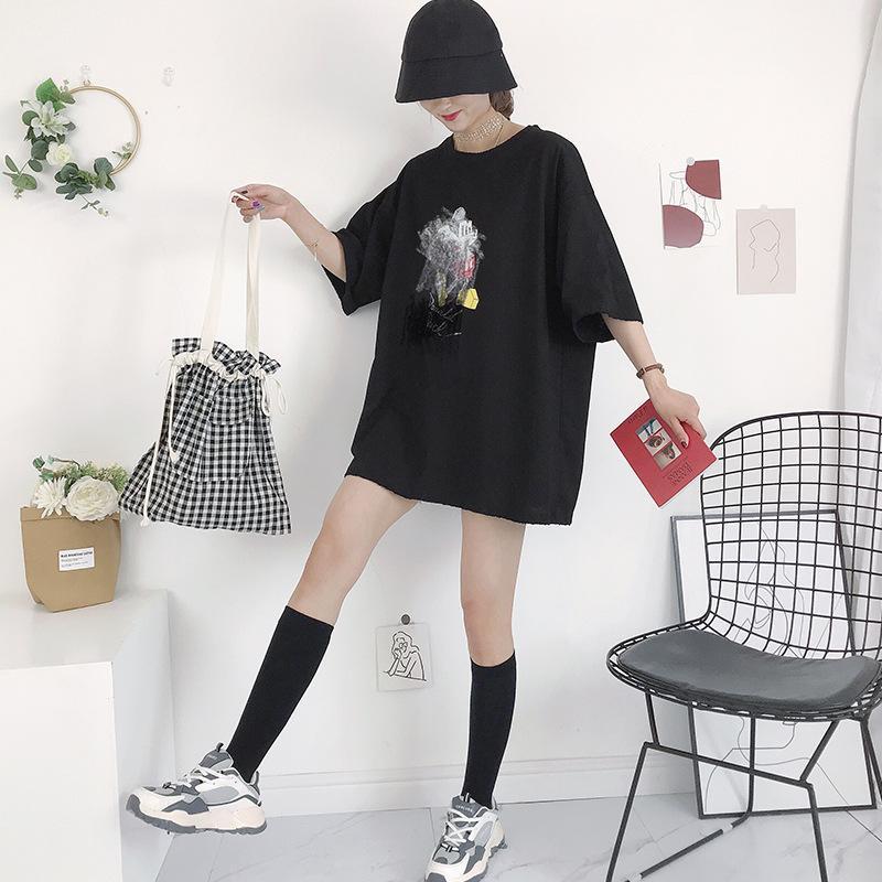 Студент холщовый мешок Spot Поставка Harajuku стиль японских и корейских Ins Художественные черно-белые решетках мешок плеча женщин сумка