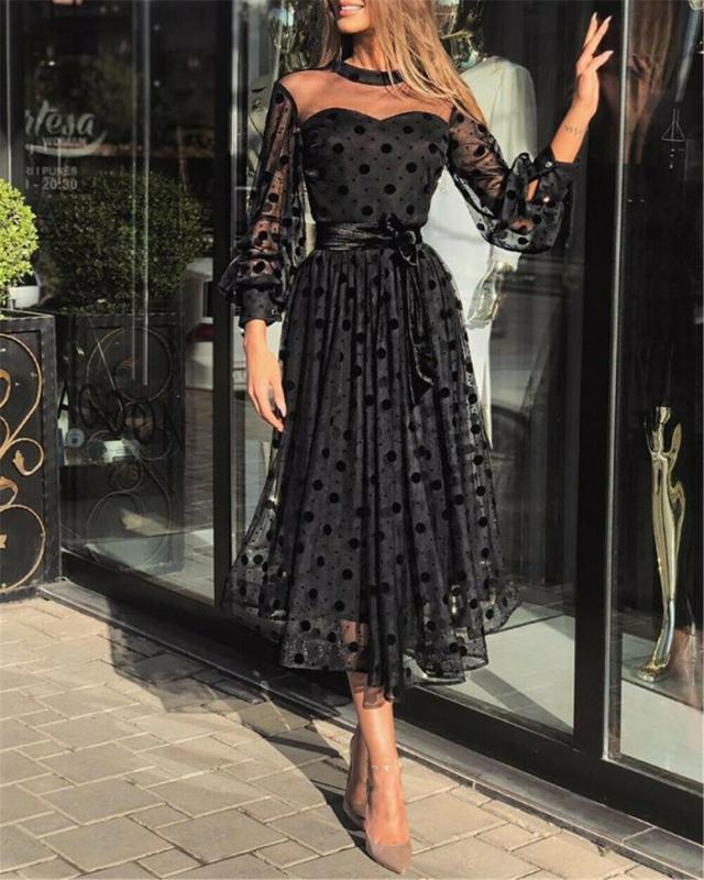 Donne vestono Pois signore lunghe del partito del manicotto Vadim Midi abiti autunno Pieghe Abiti Sundress Dress Plus Size Robe Femme