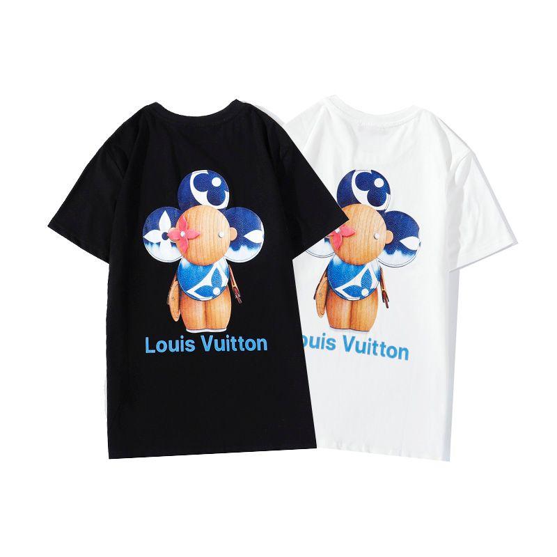 Luxus-Männer und Frauen T-Shirts, hochwertiger kurzärmeliger Schwarz-Weiß-tide Buchstabedrucken, Hip-Hop Sport und Freizeit mit dem Label S-