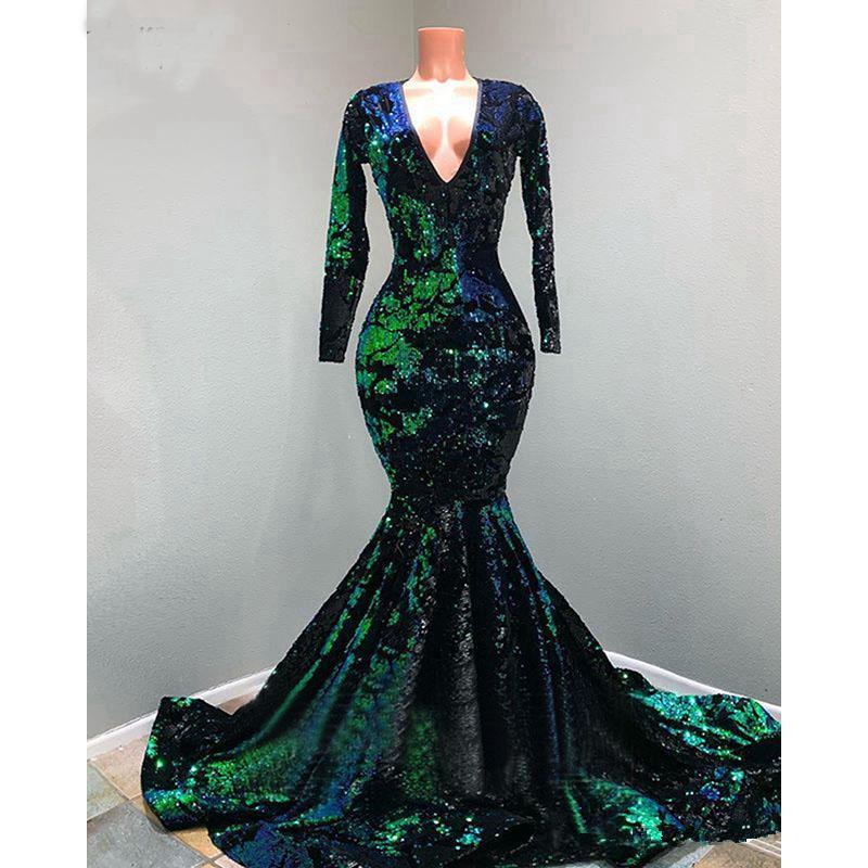 Verde esmeralda veludo Lantejoulas Vestidos de baile V-neck 2020 muçulmana manga comprida Sparkly Sereia varredura ocasião Train tamanho Vestido de Noite Mais