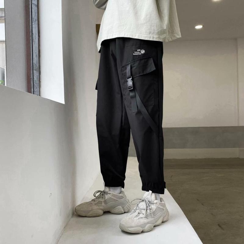 BXyichen Sommer japanische Neun-Punkte-beiläufige Overalls männlichen Hip-Hop-Gezeitenmarke Gamaschenhosen Student gerade lose Hosen Harem