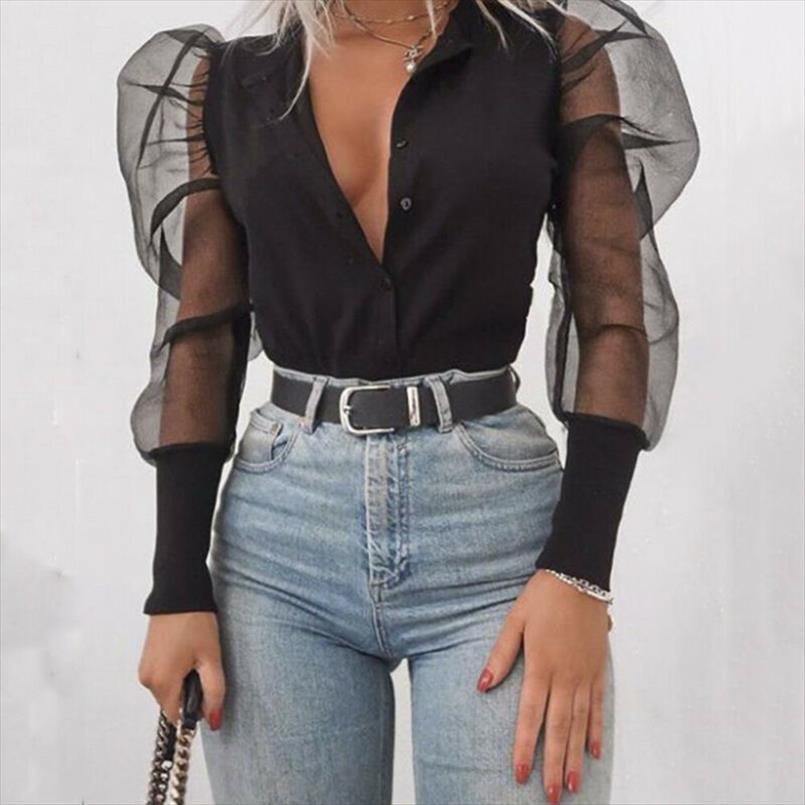 womens clothing Fashion Sexy Mesh Long Sleeve Women Solid Color Puff Sleeve Blouse Tops Drop Shipping