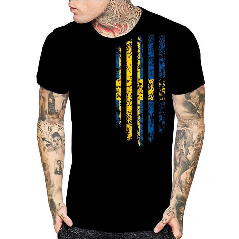 Schweden Vintage Flagge Kurzarm Herren Schwarz-Druck-Mode-T-Shirt New lustiger Entwurf Weihnachtsgeschenk Shirts Asien-Größe S-5xl