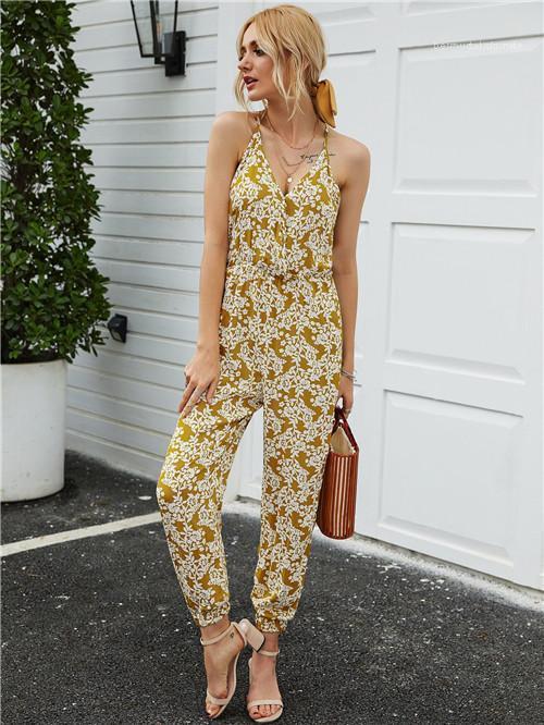 Estilo atractivo impreso floral de cuello en V de las señoras de las mujeres ocasionales Romper ropa de verano Womerns Monos del tirante de espagueti