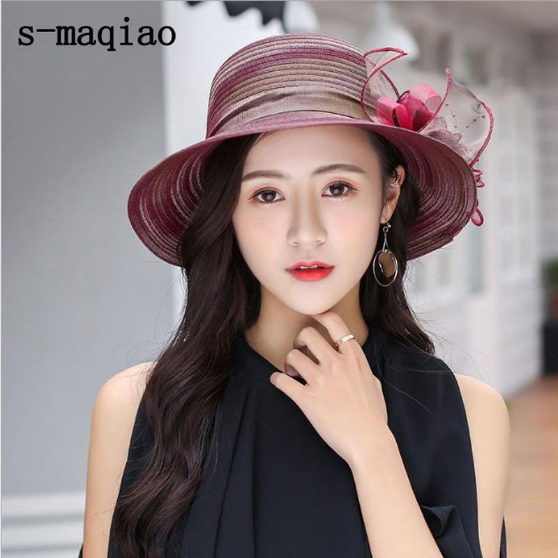 Шляпы UV защиты от солнца шляпы для женщин Большого лука цветок Summer Sun Protect Hat Элегантного Fedoras Свадебного берега