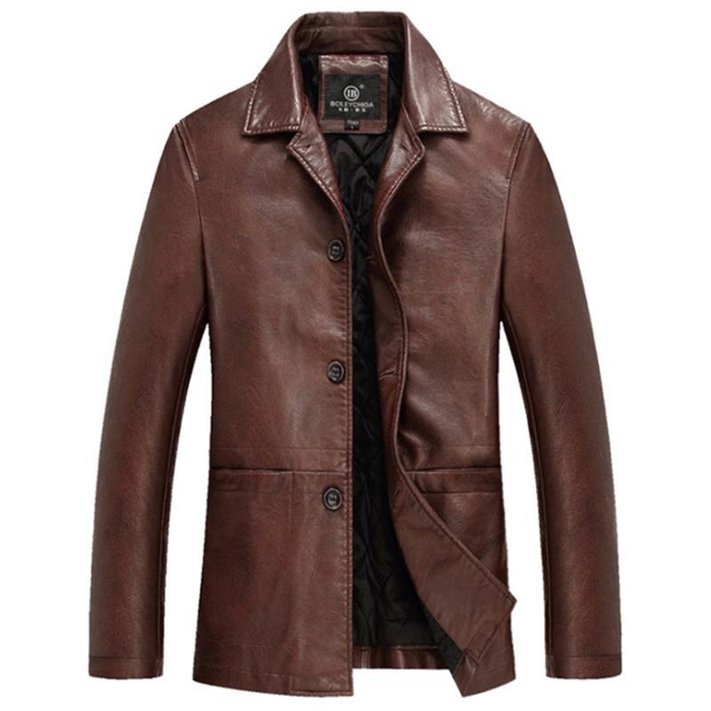 Alta calidad más gruesa de invierno chaqueta de cuero de los hombres de cuero para hombre chaquetas y abrigos Veste Cuir Homme Chaqueta Cuero Hombre Deri Ceket