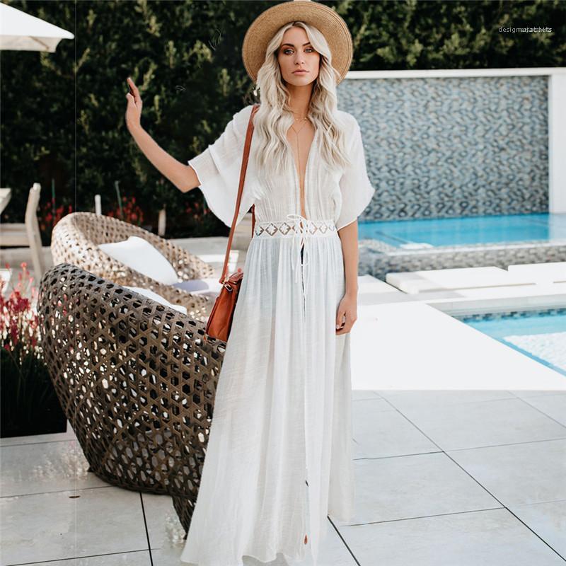 عطلة نمط Famale الملابس عارضة السيدات كارديجان كم فستان الدانتيل أزياء قصيرة V الرقبة الخصر شاطىء البحر