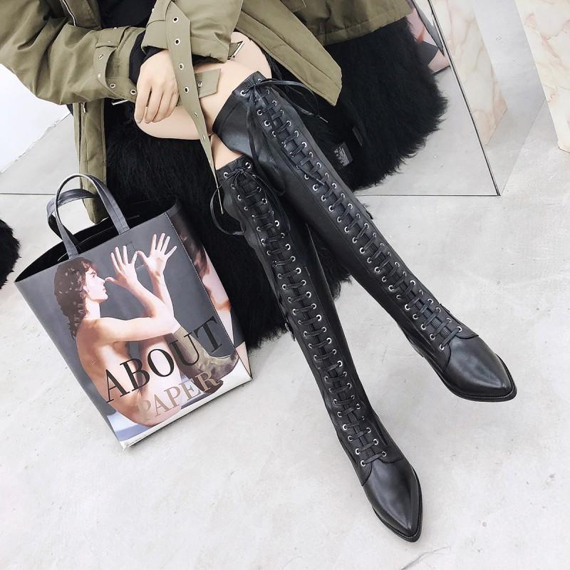 SWYIVY Overknee-Stiefel Frauen 2020 Winter-Verband-Spitze-echtes Leder-Schuh-Schwarz-Pointe Toe Reitstiefel Frauen Plus Size 42