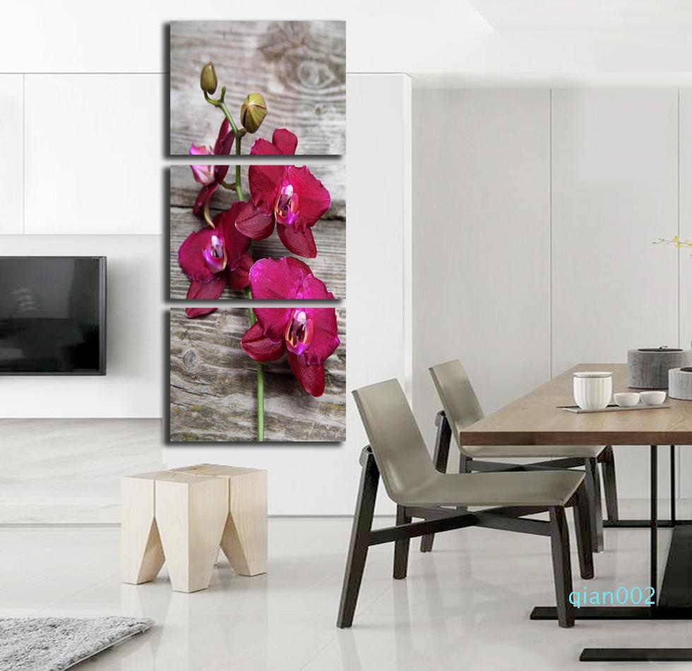 Cuadros Decocation 없음 프레임 회화 3 개 PC를 레드 오키드 꽃 포스터 인쇄 홈 장식 벽 예술 사진 캔버스