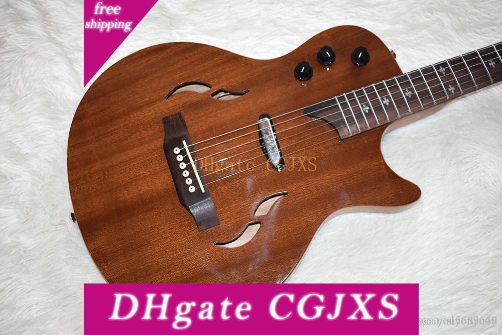 Fábrica al por mayor de encargo / al por menor el mejor precio, Brown Semi -Hollow la guitarra eléctrica con cuerpo de caoba y el cuello, palo de rosa Escala personalizable Ele