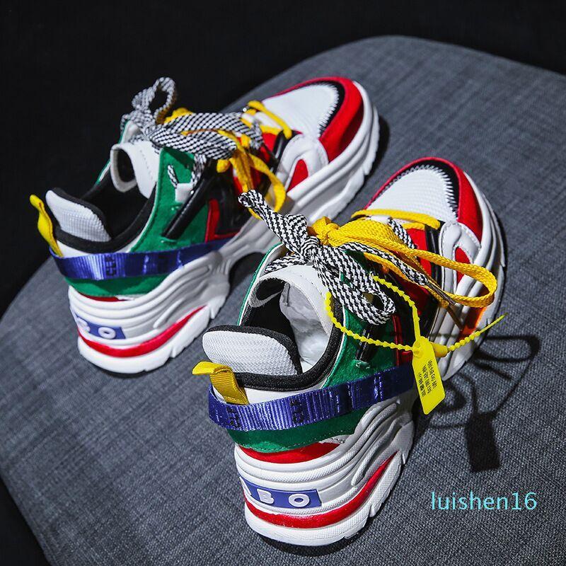 2019 Triple S nouveaux hommes Chaussures de sport Casual Lacets vieux papy homme EAF ou ABO Chaussures de sport en plein air respirante Marche Jogging Trekking Chaussures L16