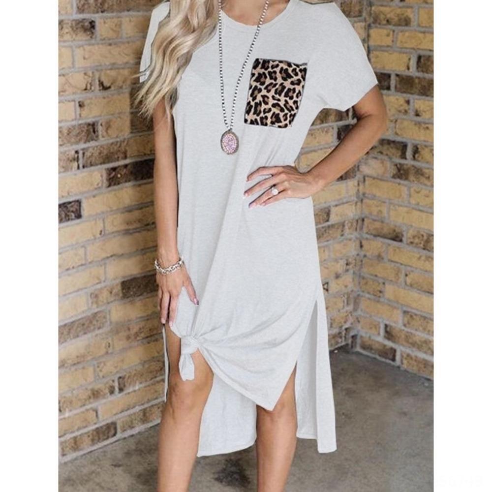 cosiendo el vestido 2020 de división de bolsillo de leopardo de Verano 2020 de bolsillo de leopardo verano costura de división casuales mujeres de la manga corta ocasional dre
