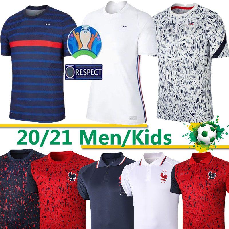 2020 France MBAPPE Griezmann Pogba de 2021 Maillot de football de football chemises MAILLOT hommes de pied + kids kit thaïlande
