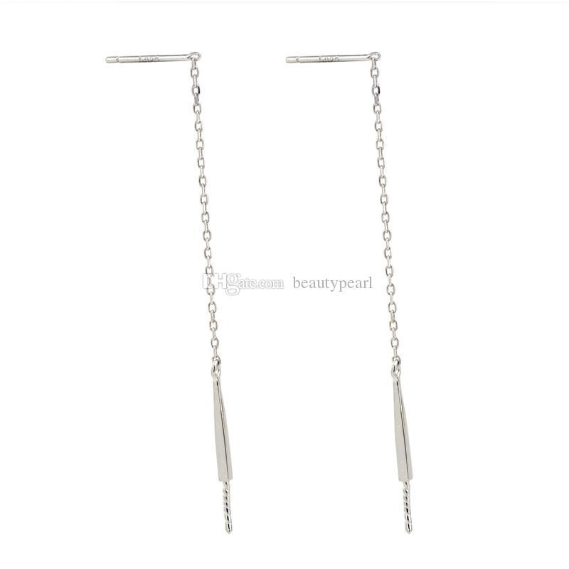 Pearl Drop Earring Mountings Threader Earring Findings 925 Sterling Silver Chain Earring Blanks DIY 5 Pairs