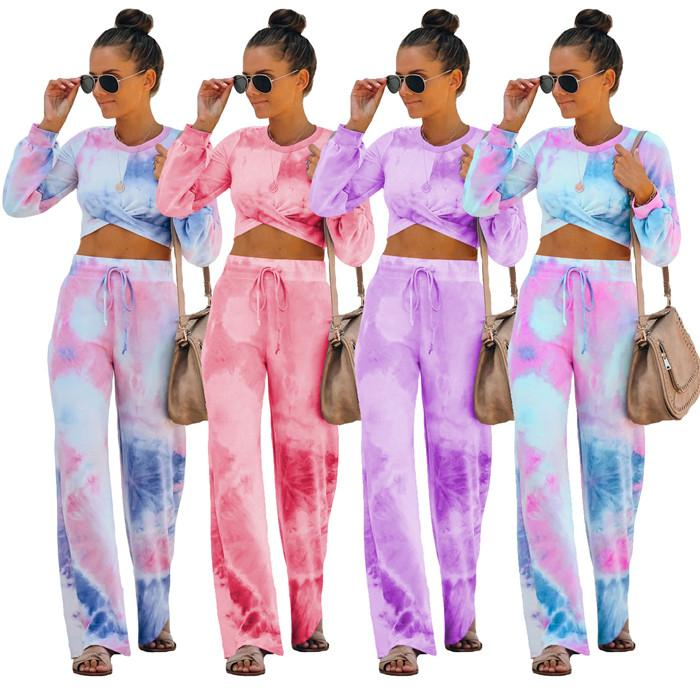 Tie Dye Womens Clothing 2 Piece Sets Gradient Casual Housewear Sexy Long Sleeve tshirts and Drawstring Pants Autumn Women Designer Sets