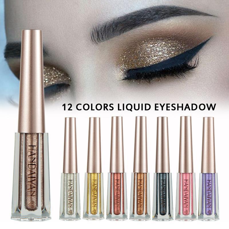 HANDAIYAN 12 color Liquid Eyeshadow Glittering Shimmer Makeup Eye Shadow Liquid metallic eyeshadow Waterproof free shipping