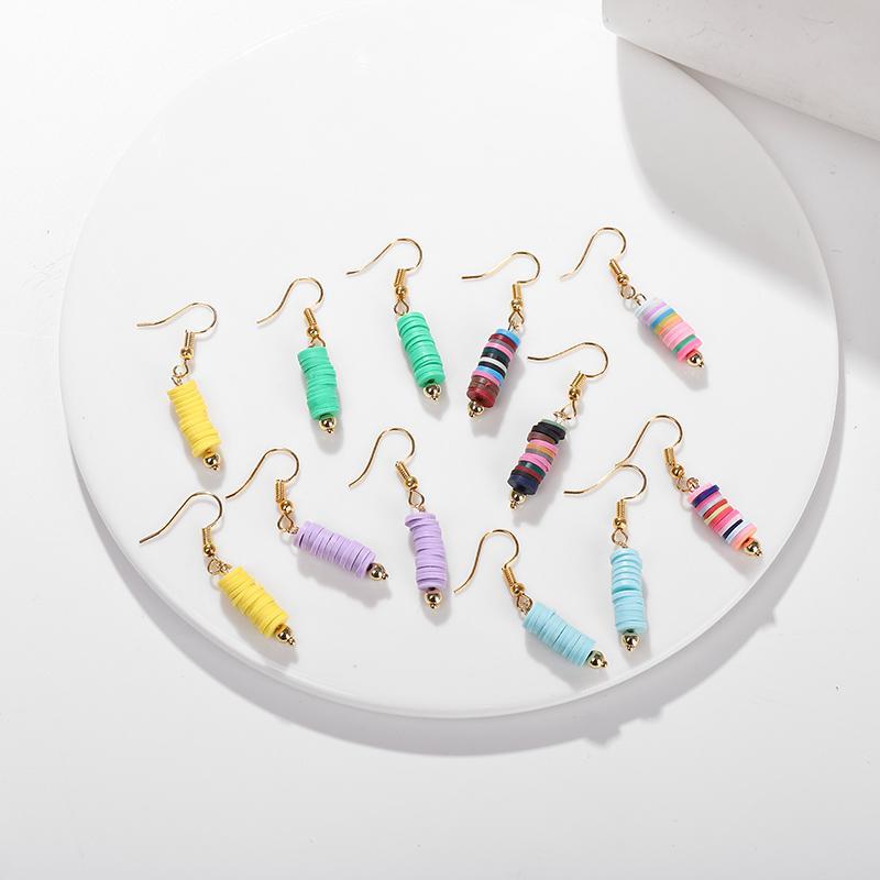G.YCX Boemia del polimero borda il disco Bar orecchini arcobaleno tubolari in vinile Beads Registra monili misti Heishi orecchini della spiaggia delle donne