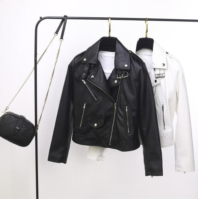 2020 new leather women's short paragraph lapel collar buckle PU motorcycle jacket small leather jacket