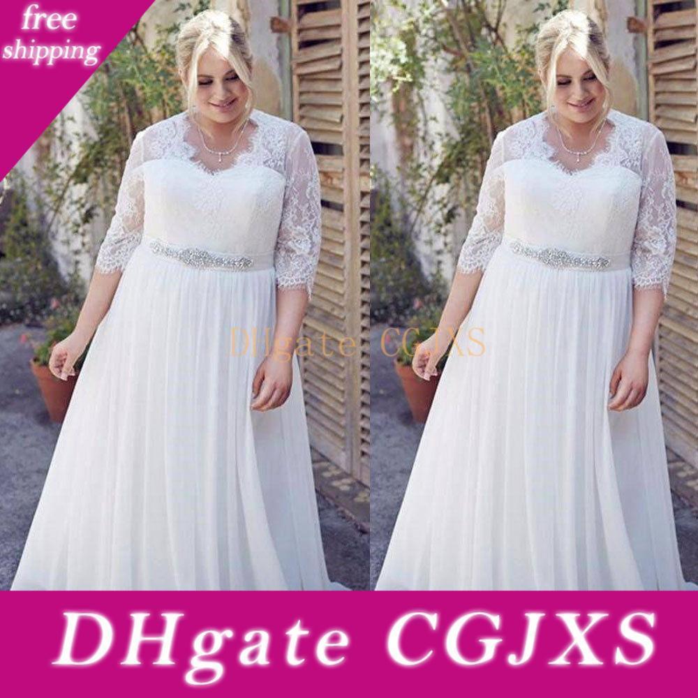 Plus Size Vestidos de casamento de chiffon com mangas meia decote em V frisada Belt Praia vestidos de noiva Country Style vestido de casamento