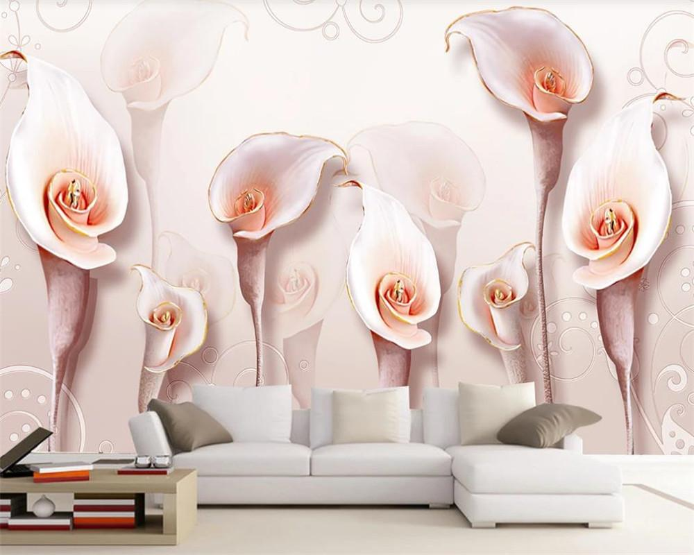 로맨틱 꽃 3D 배경 화면 유럽 양각 핑크 칼라 릴리 간단한 배경 벽 HD 장식 아름다운 배경 화면
