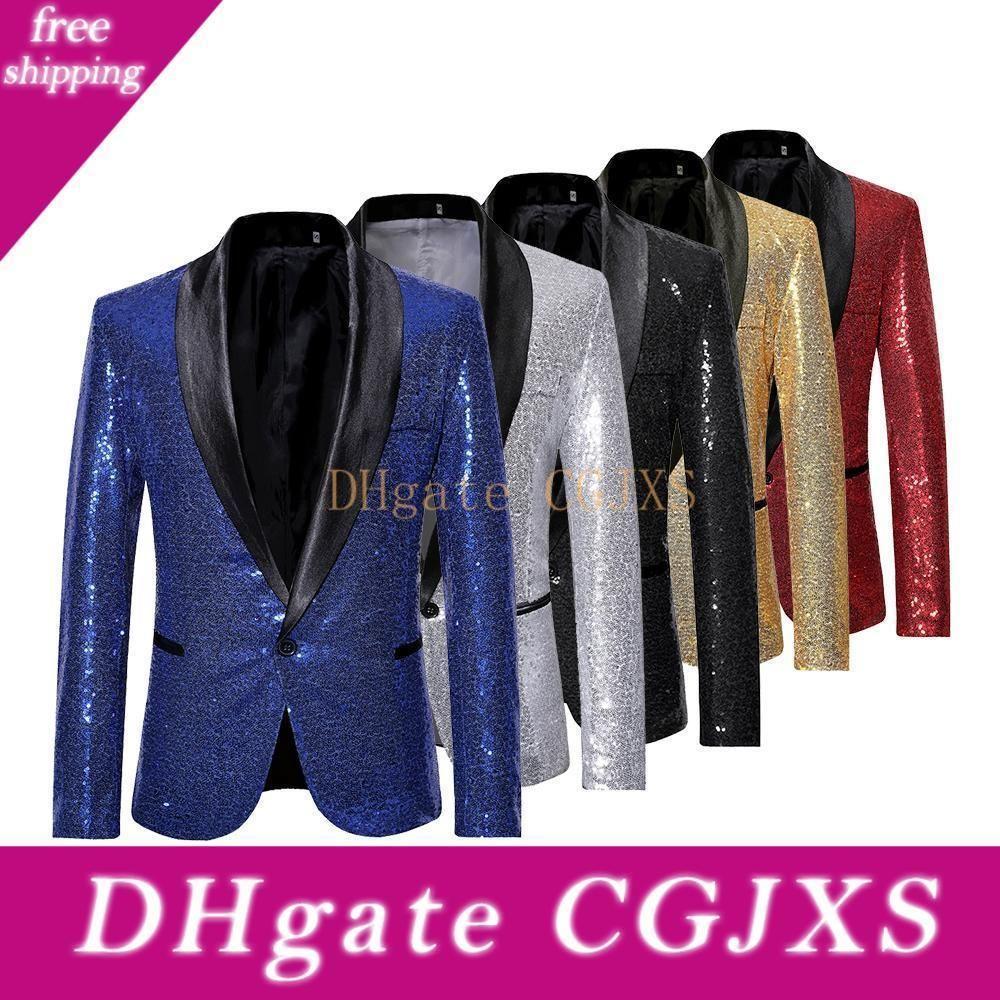 Men '; casual di danza paillettes vestito One Button Blazer Coat partito Stage Performance cocktail paillettes Jacket 2020