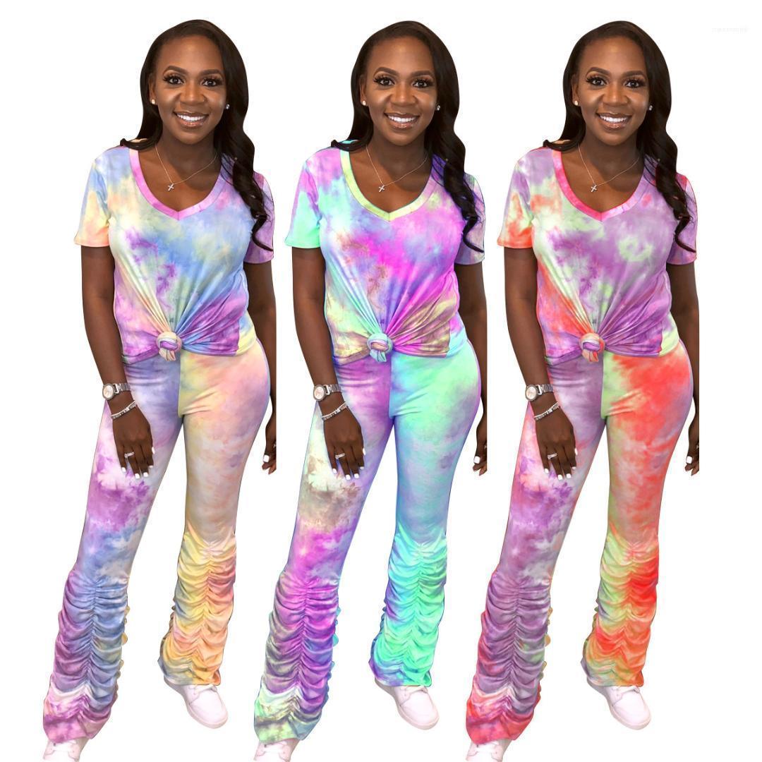 Set 2020 para mujer de diseño chándales de verano Mujer Ropa Casual color del gradiente apiladas pantalones de deporte 2 PCS