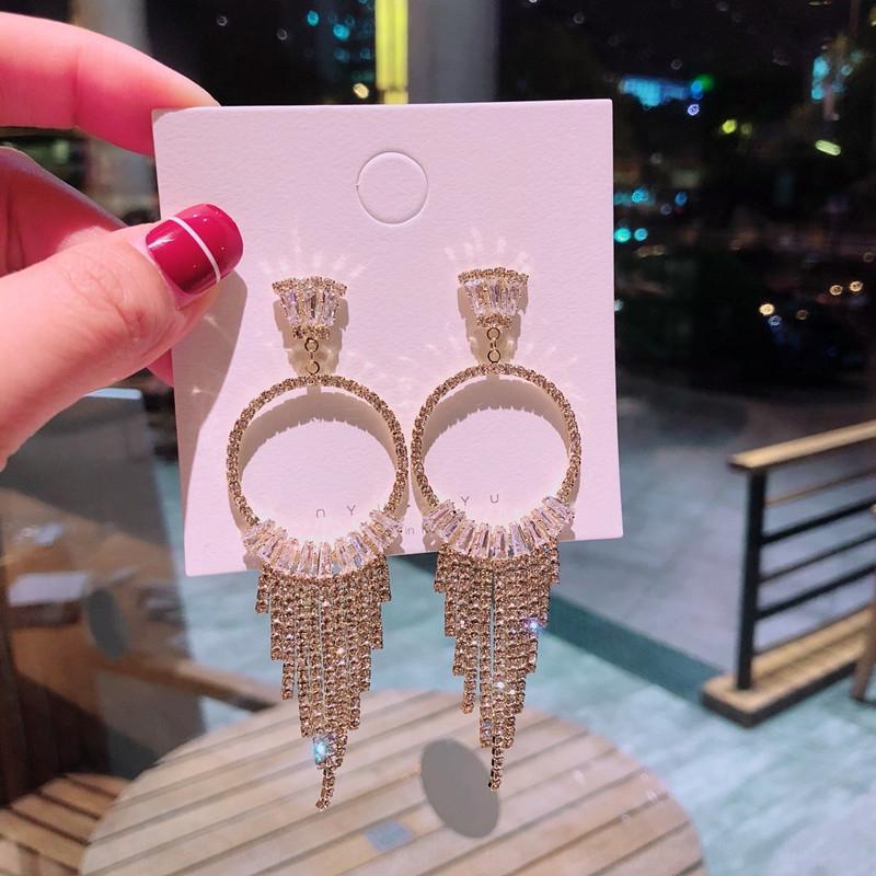 BDtiD 925 haut de gamme à la main à l'aiguille de diamant à la main style coréen tempérament géométrique pleine boucle d'oreille diamant zircon longue boucles d'oreilles longues