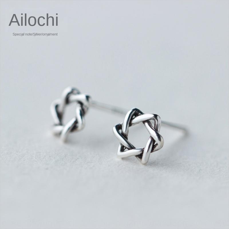 Iroch 925 gümüş Ulusal ve dişi etnik stil Tay gümüş altı yıldızlı küpe oyuk-out yıldız küpe E1145