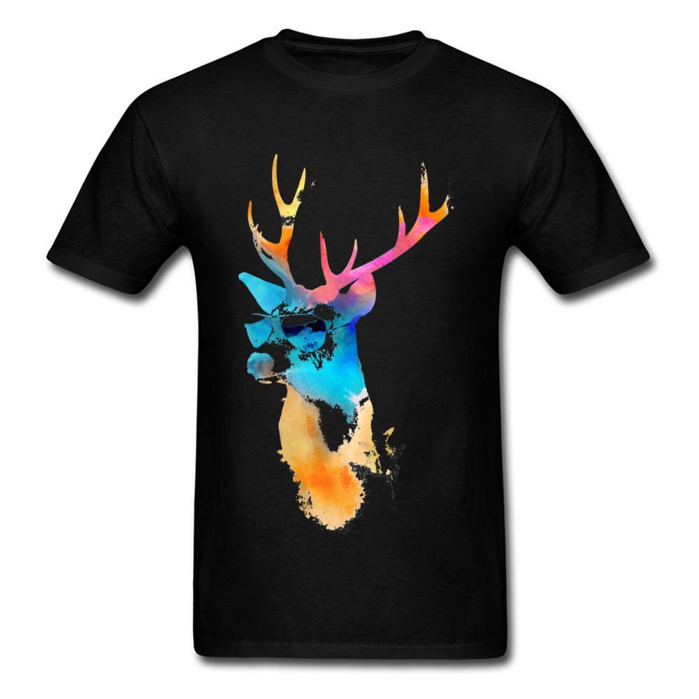 Normal camisetas da luz do sol do arco-íris Stag Desenho gráfico homens Artistical Estética Animal Print New T Shirt For Men personalizado