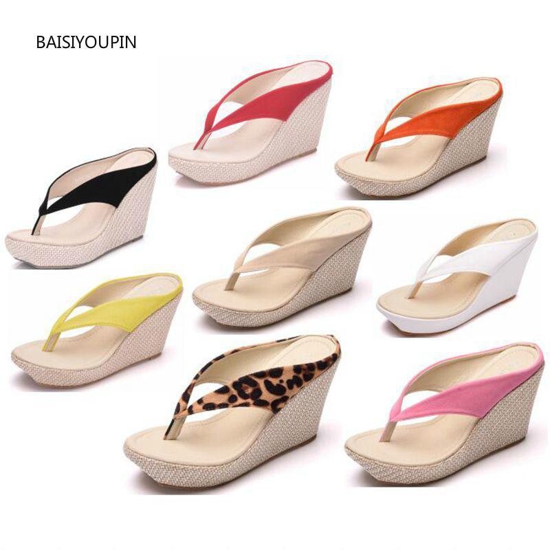 Plus Size Mulheres Chinelos Bombas sapatos de verão Sólido Fora Flock 9.5cm Salto Alto Cunhas Plataforma (2,5 cm) de Praia Feminino Slides34-41