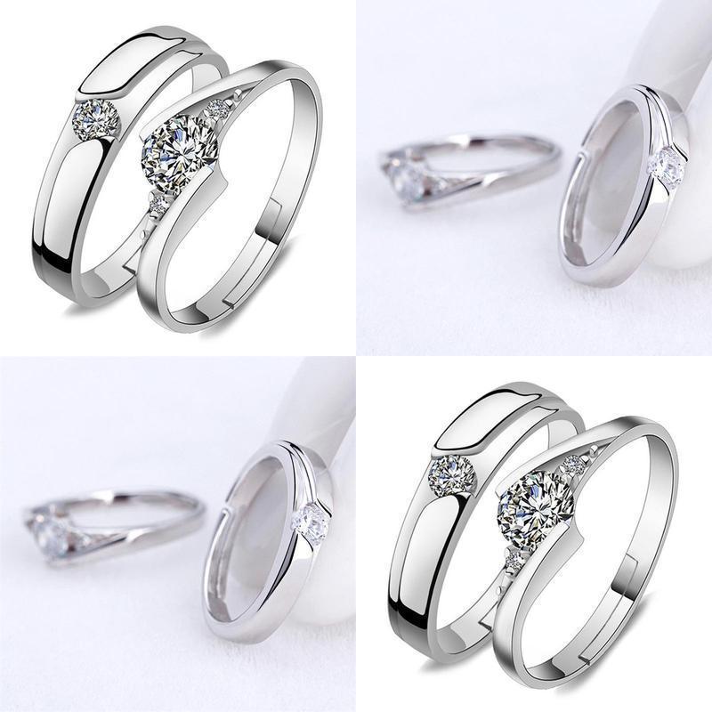 Ringe Zirkonia Ring Paar Adjustable Verpflichtungs öffnen Kristallring Hochzeit Cubic Silber hat7890 NiKPd