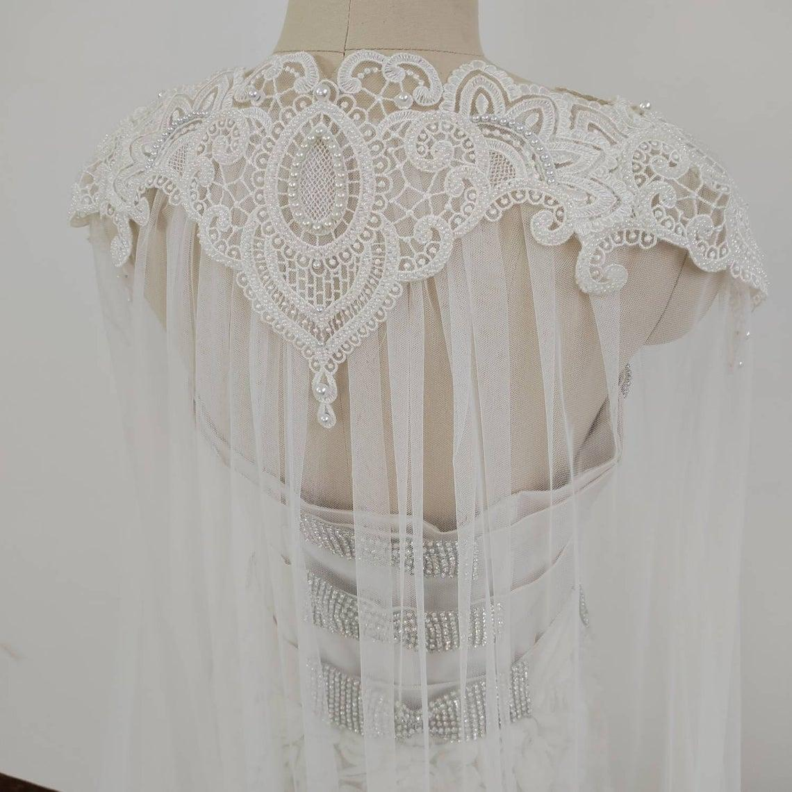 Luxury 120 inches wedding cape veil sew beaded lace, pearl cape, 3 meters large bridal Cape, Shoulders Shawl, Cover Ups, white bridal cape31