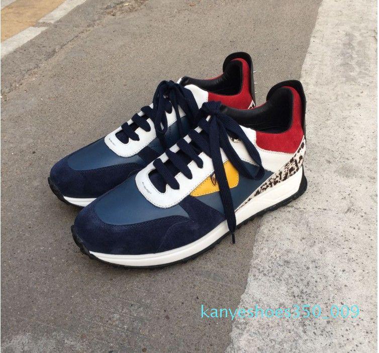 19ss Top Quality FD FUN Luxo sapatos designer de PELE da sapatilha de couro genuíno presente homens mulheres Racer Hot venda Sports ocasional hococal New k09