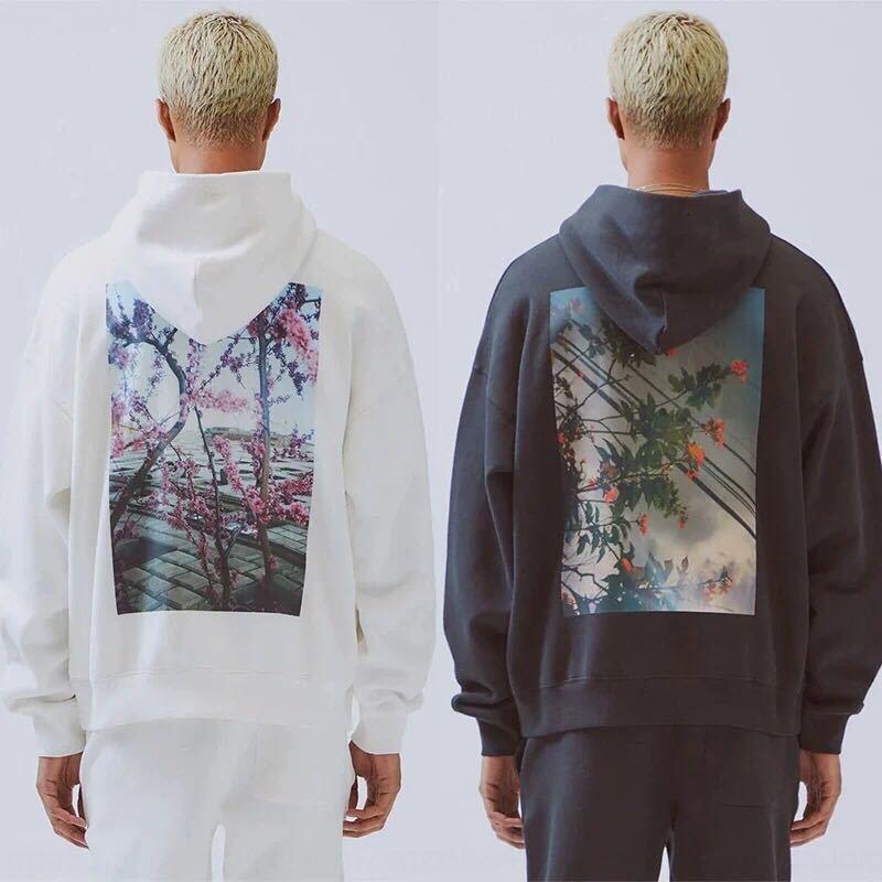 hFS3R ebg7d Calidad ESS19SS Limited calle alto suéter de hip-hop fotos japonesa Flores de los hombres flor de California y caída Hoo hombro de las mujeres