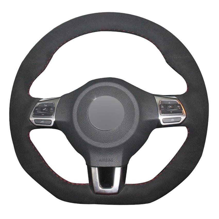 التوجيه أسود من جلد الغزال DIY السيارات تغطية عجلة القيادة لفولكس واجن جولف GTI 6 MK6 فولكس فاجن بولو GTI سيارة شيروكو R باسات CC R-لاين 2009-2016