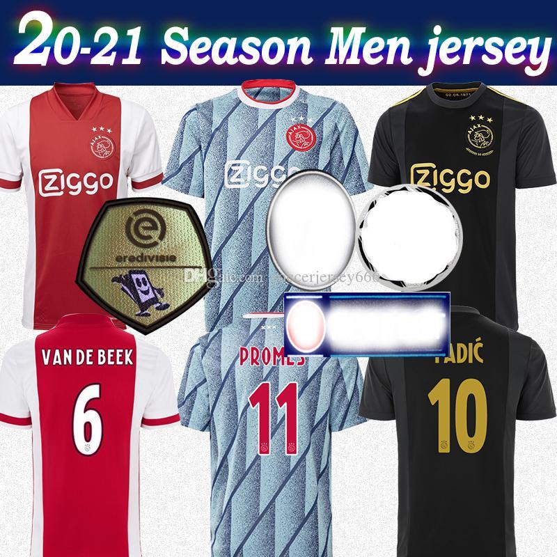 20 ~ 21 아약스 유럽 저지 50 블랙 골드 # 11 PROMES 2020 남성 AJAX 홈 멀리 빨간색 축구 유니폼 사용자 정의 축구 셔츠 핫 판매