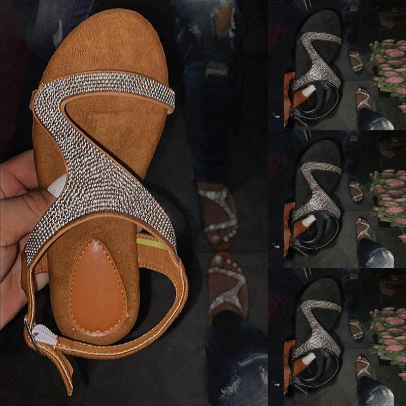 Женщины Сандалии Rhinestone плоских пряжки ремень лето женщины пряжка Гладиатор пляжная обувь Женского Bling дама плюс размером # 0525
