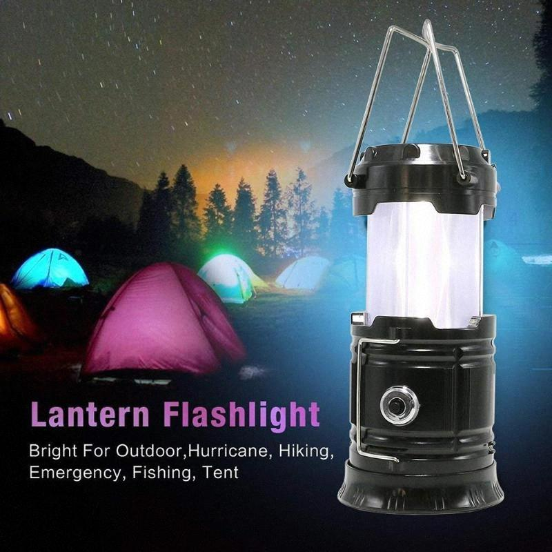 Tragbares Outdoor Solar Camping-Zelt-Licht-Lampen-Laterne Flamme Retractable Notbeleuchtung Camping Licht Laterne Led Wiederaufladbare Lan ZEVn #