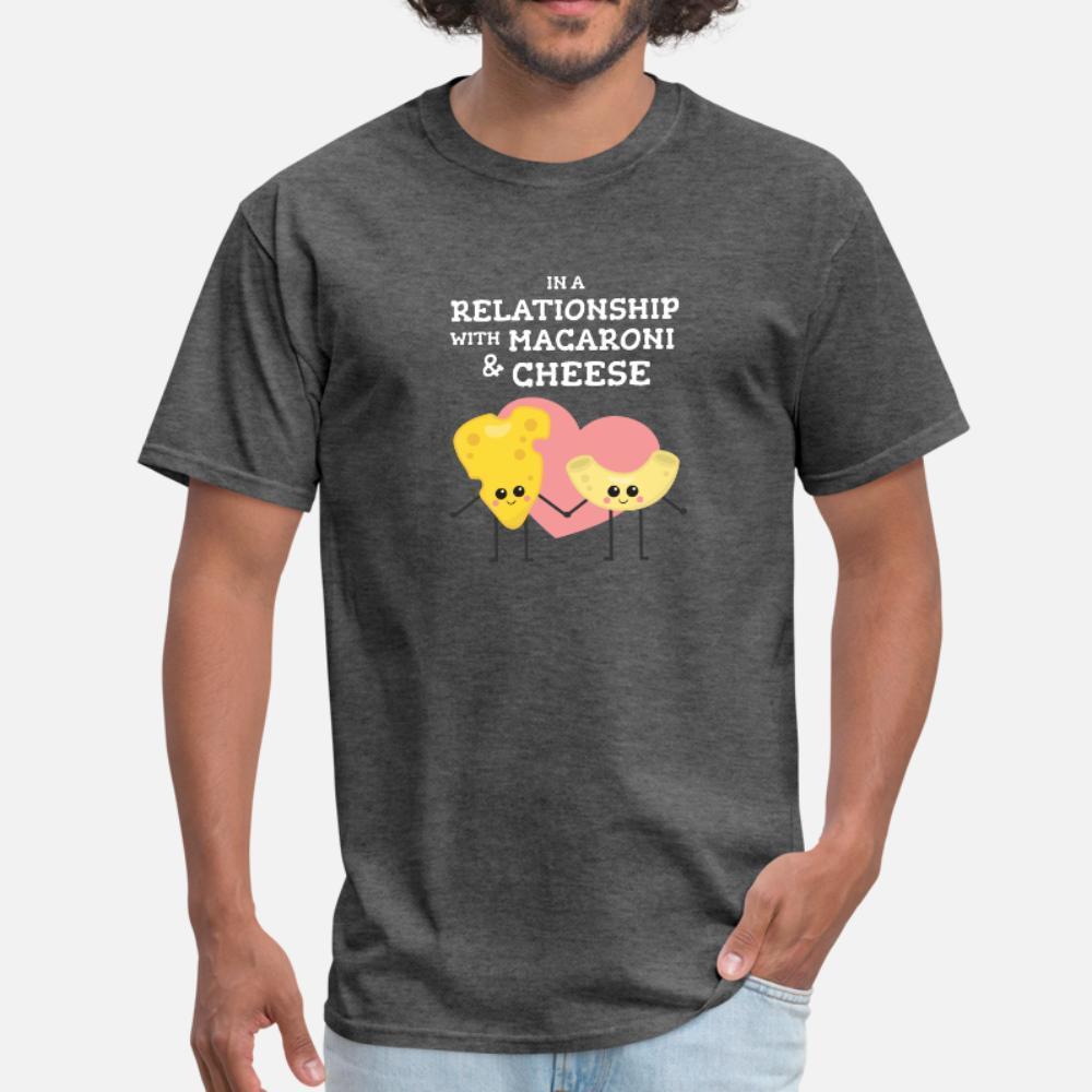 Macarrão e queijo relacionamento camiseta homens impressão camisa de manga curta O Neck Família solto Humor Verão Estilo Tendência