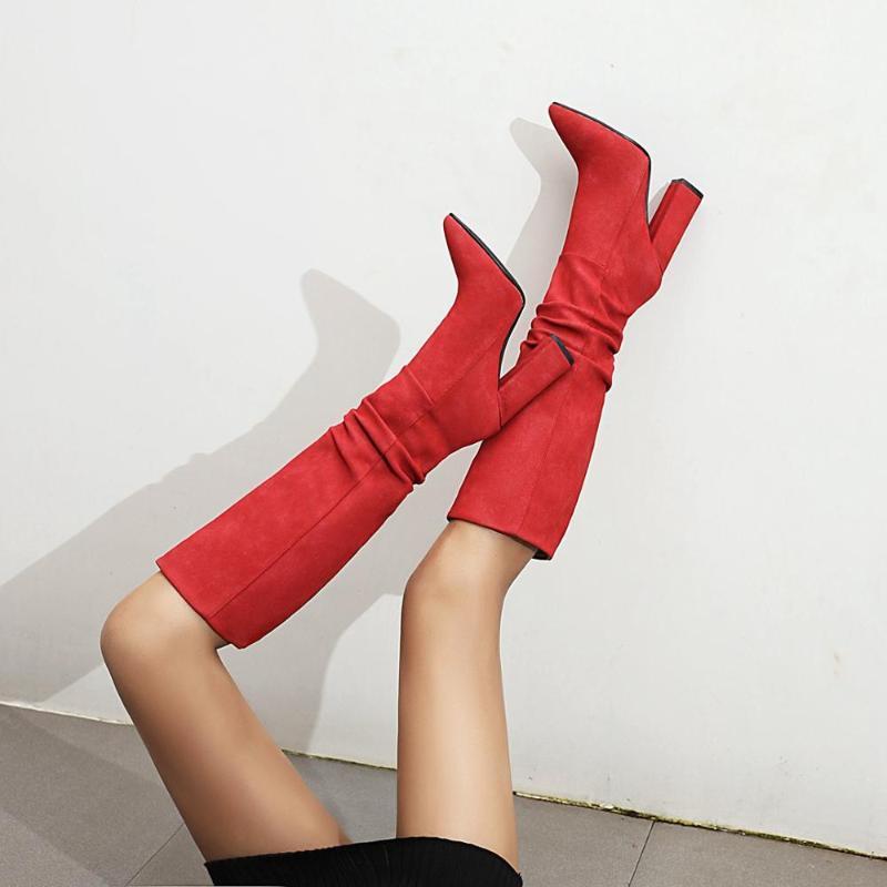2021 Botas de Moda de Folds Mulheres Joelho Botas Faux Suede Salto Alto Outono Inverno Mulher Plush Shoes Tamanho 34-43 Preto
