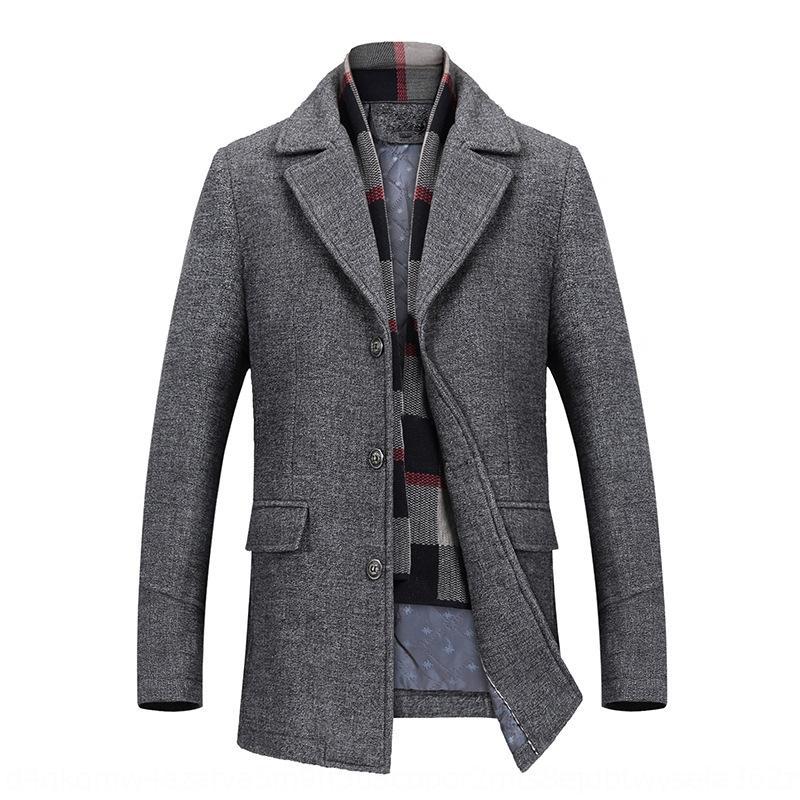 GqH62 Yeni orta yaşlı yün Yün erkekler yün ceket erkek 2019 yün ceket kısa kış giysileri kalınlaşmış