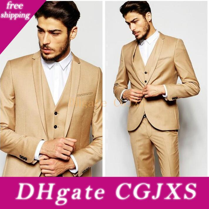 Gold Morning Wedding Suits Handsome Slim Fit Mens Suits Groom Tuxedos Custom Made Formal Prom Suits (Jacket Pants Vest )