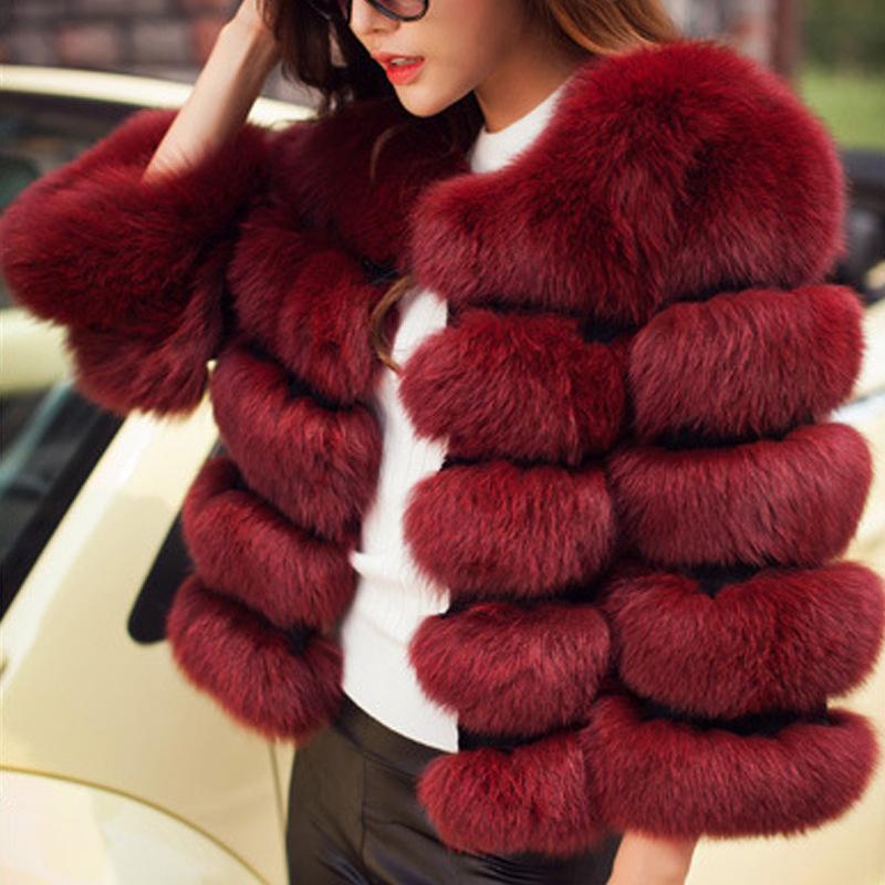 Женщины искусственного меха Пальто осень Зимняя куртка нового способа вскользь теплая Lady Plus Размер Имитация Лисий Мех Шинель Женщины с длинными рукавами 200929