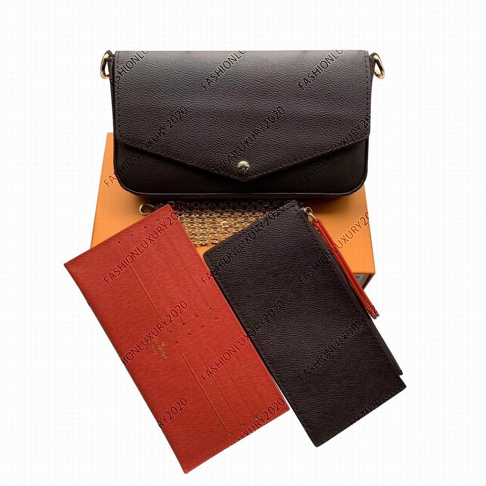 Klassische Top-Qualität Leder Patchwork Messenger Bags Frauen Weibliche Kette Strap Umhängetasche Damen Klappen Taschen Geldbörse mit Kasten Staubbeutel M61276