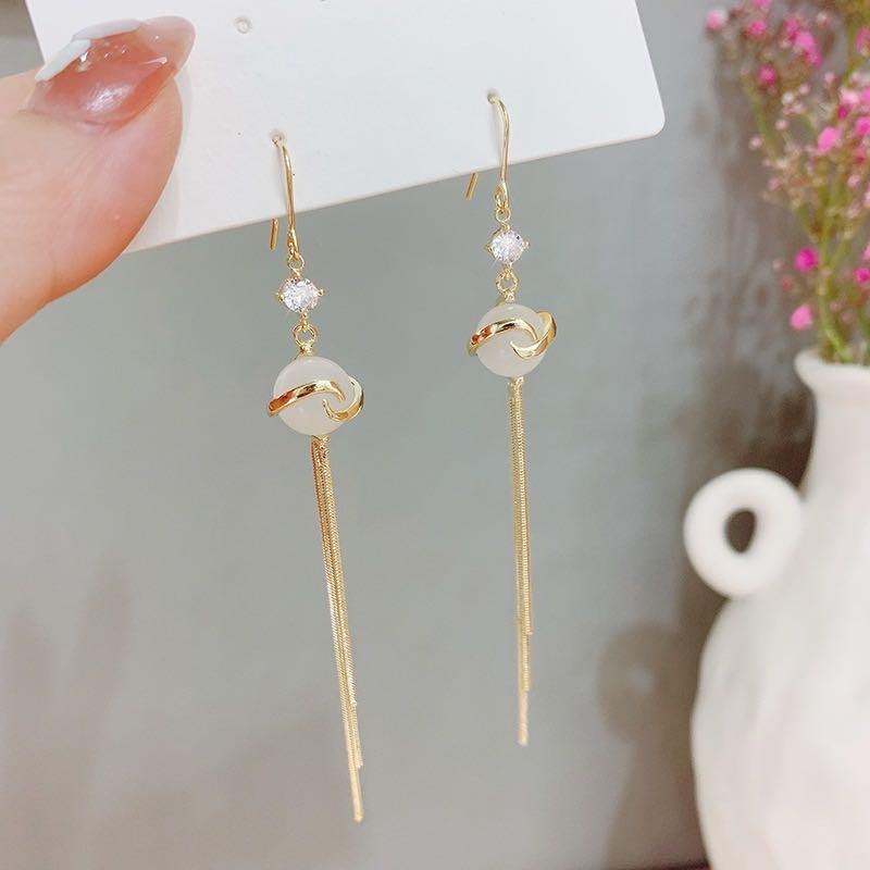 Top Quality Fashion Hypoallergenic Earrings Silver Boxed Long Earrings Korean Jewelry Diamond Earrings Goddess Style