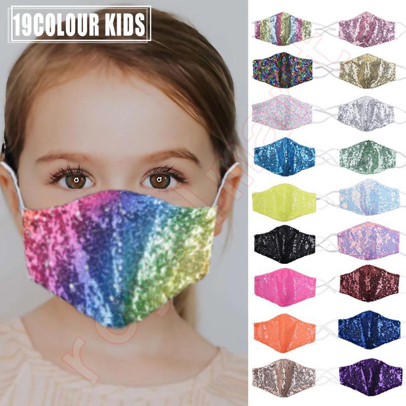 Maschera Kids Fashion Bling Bling Paillettes protezione antipolvere PM2.5 Bocca Maschere riutilizzabile lavabile Bambino maschera di protezione di trasporto del DHL