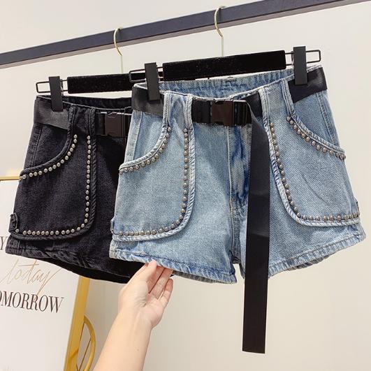 Fashion Overalls Women's High Waisted Skinny Ins Jeans Pants Black Belt Stud Rivets Denim Shorts Outside Wear Boots Pants