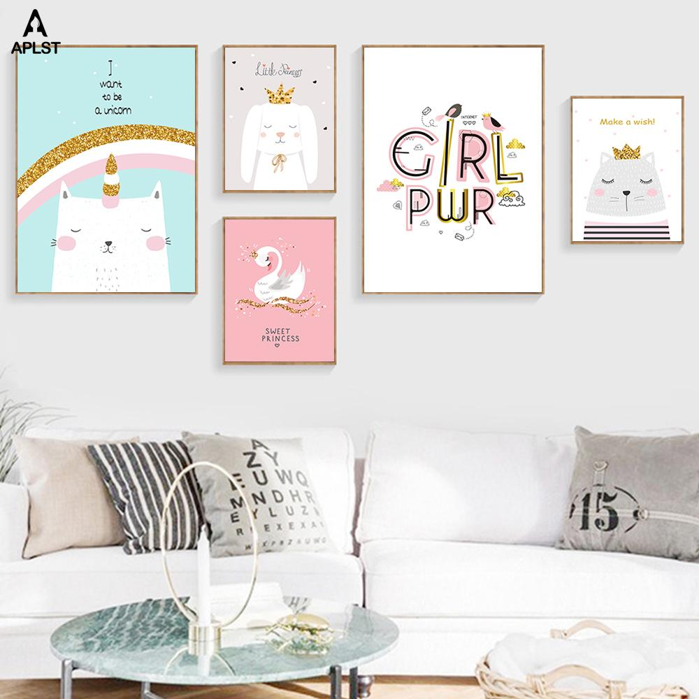 Baby Cartoon Canvas Posters Prints Nursery Girls Powerful Quotes Animal Wall Art Paintings Kids Pictures for Children Room Decor